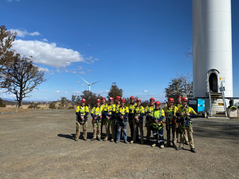 Frontline Electrical team at Cattle Hill Wind Farm