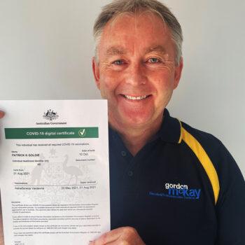 Gordon McKay team member Pat Goldie with his COVID jab certificate
